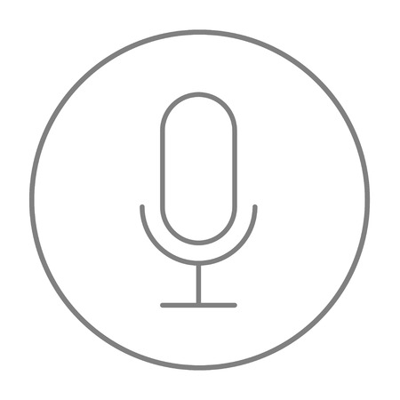 Retro microphone line icon for web, mobile and infographics. Vector grey thin line icon in the circle isolated on white background.
