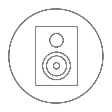 MP3 player line icon for web, mobile and infographics. Vector grey thin line icon in the circle isolated on white background.