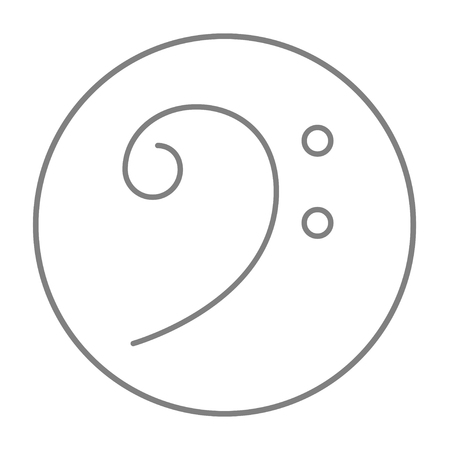 bass clef: Bass clef line icon for web, mobile and infographics. Vector grey thin line icon in the circle isolated on white background.