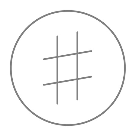 microblogging: Hashtag symbol line icon for web, mobile and infographics. Vector grey thin line icon in the circle isolated on white background.