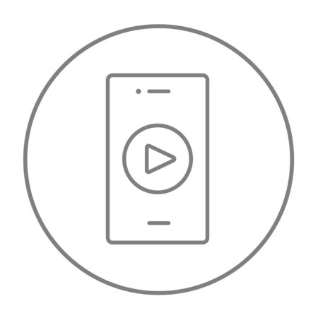 Smartphone with play button on a screen line icon for web, mobile and infographics. Vector grey thin line icon in the circle isolated on white background.