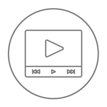 Video player line icon for web, mobile and infographics. Vector grey thin line icon in the circle isolated on white background. Illustration