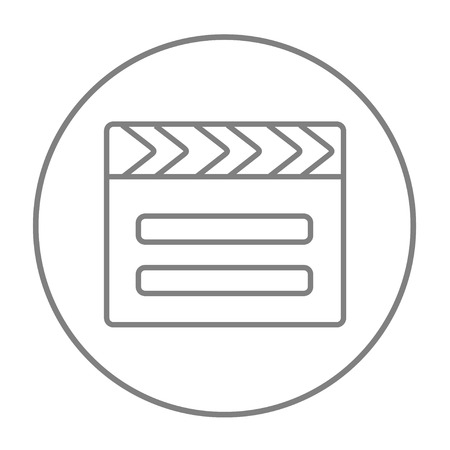 flick: Clapboard line icon for web, mobile and infographics. Vector grey thin line icon in the circle isolated on white background. Illustration