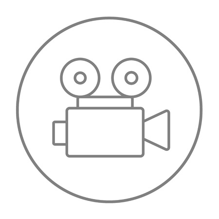 cine: Video camera line icon for web, mobile and infographics. Vector grey thin line icon in the circle isolated on white background.