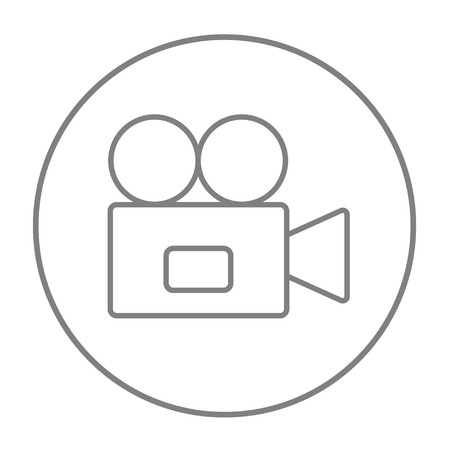 Video camera line icon for web, mobile and infographics. Vector grey thin line icon in the circle isolated on white background.