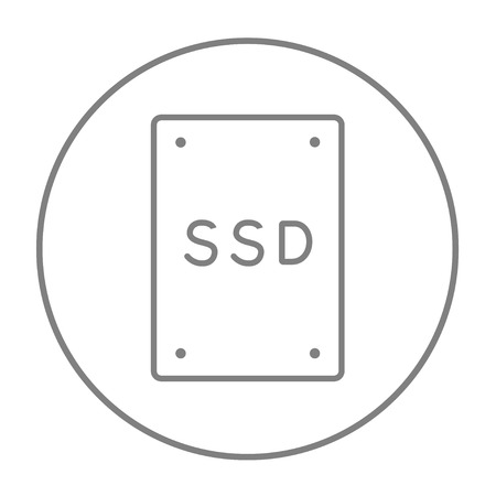 solid state drive: Solid state drive line icon for web, mobile and infographics. Vector grey thin line icon in the circle isolated on white background.