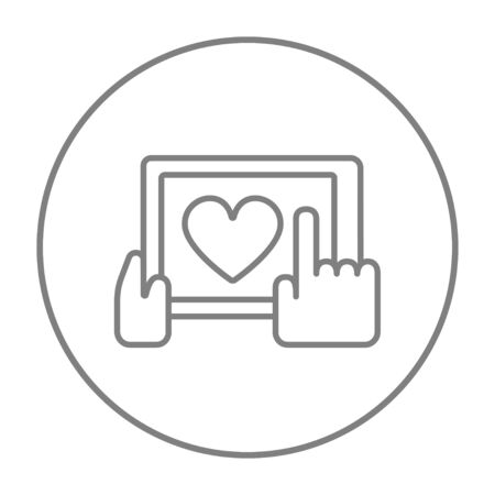Smartphone with heart sign line icon for web, mobile and infographics. Vector grey thin line icon in the circle isolated on white background. Ilustração