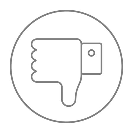 disapprove: Thumb down hand sign line icon for web, mobile and infographics. Vector grey thin line icon in the circle isolated on white background.