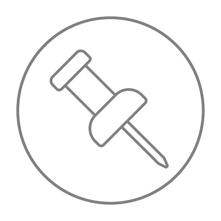 Pushpin line icon for web, mobile and infographics. Vector grey thin line icon in the circle isolated on white background.