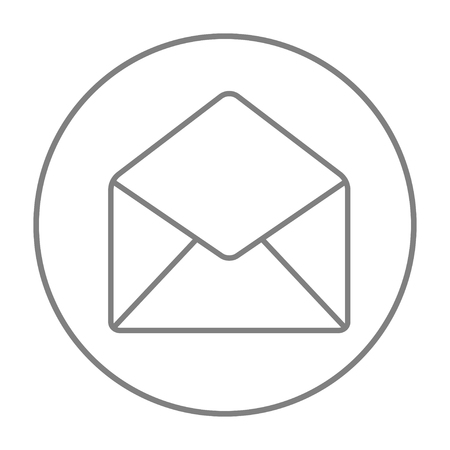 Envelope line icon for web, mobile and infographics. Vector grey thin line icon in the circle isolated on white background.