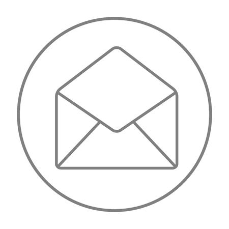 Icône de ligne d'enveloppe pour le web, mobile et infographie. Icône de fine ligne vecteur gris dans le cercle isolé sur fond blanc. Banque d'images - 51365266