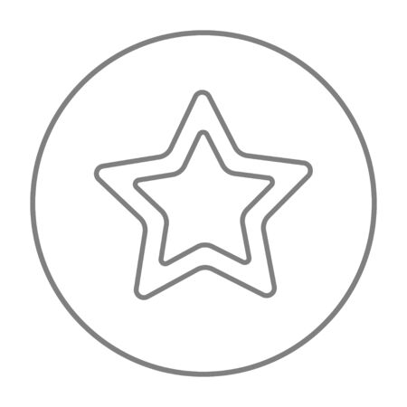 Rating star line icon for web, mobile and infographics. Vector grey thin line icon in the circle isolated on white background. Illustration