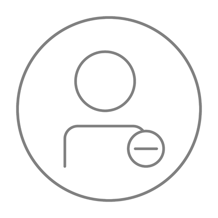 companionship: User profile with minus sign line icon for web, mobile and infographics. Vector grey thin line icon in the circle isolated on white background.