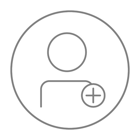 userpic: User profile with plus sign line icon for web, mobile and infographics. Vector grey thin line icon in the circle isolated on white background.