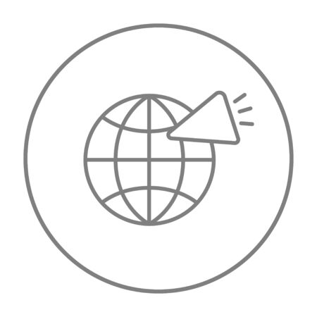 loudspeaker: Globe with loudspeaker line icon for web, mobile and infographics. Vector grey thin line icon in the circle isolated on white background.