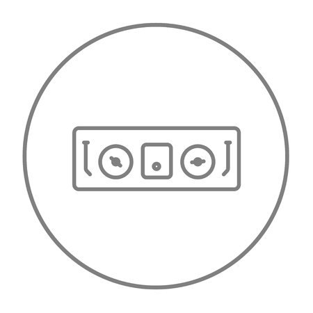 remix: DJ console line icon for web, mobile and infographics. Vector grey thin line icon in the circle isolated on white background.