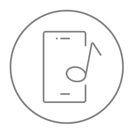 Phone with musical note on a screen line icon for web, mobile and infographics. Vector grey thin line icon in the circle isolated on white background.