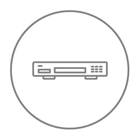 videocassette: Video recorder line icon for web, mobile and infographics. Vector grey thin line icon in the circle isolated on white background.