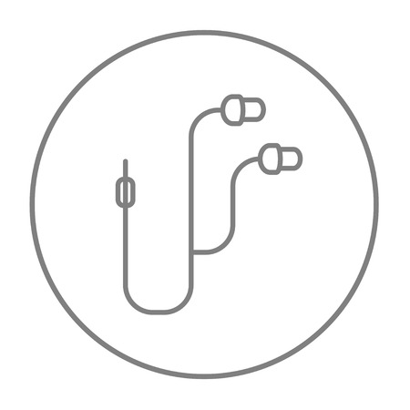 earpieces: Earphone line icon for web, mobile and infographics. Vector grey thin line icon in the circle isolated on white background.