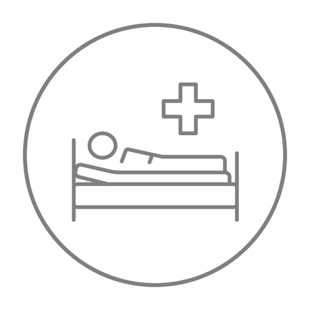 Patient lying on the bed line icon for web, mobile and infographics. Vector grey thin line icon in the circle isolated on white background.
