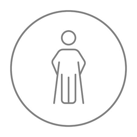 Man avec l'icône de la ligne de béquilles pour le web, mobile et infographies. Vecteur gris mince ligne icône dans le cercle isolé sur fond blanc.