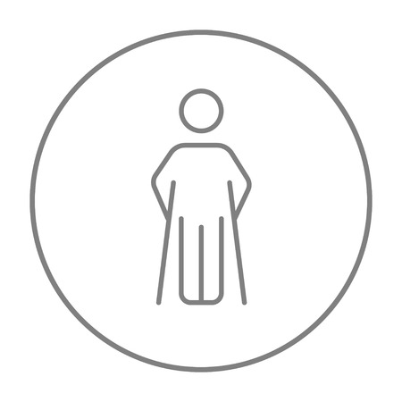 limp: Man with crutches line icon for web, mobile and infographics. Vector grey thin line icon in the circle isolated on white background.