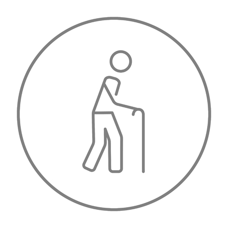 gerontology: Man walking with cane line icon for web, mobile and infographics. Vector grey thin line icon in the circle isolated on white background.