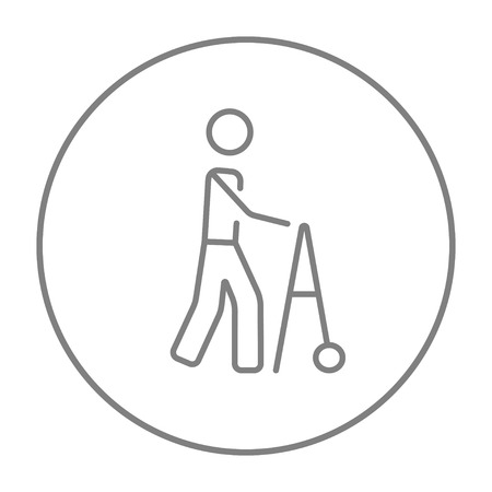 Man with walker line icon for web, mobile and infographics. Vector grey thin line icon in the circle isolated on white background.
