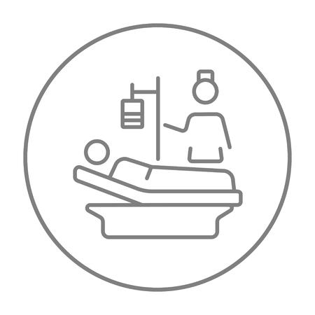 간호사 웹, 모바일 및 infographics 침대 라인 아이콘에 누워 환자에 참석. 흰색 배경에 고립 된 동그라미에 벡터 회색 선 아이콘을 벡터. 일러스트