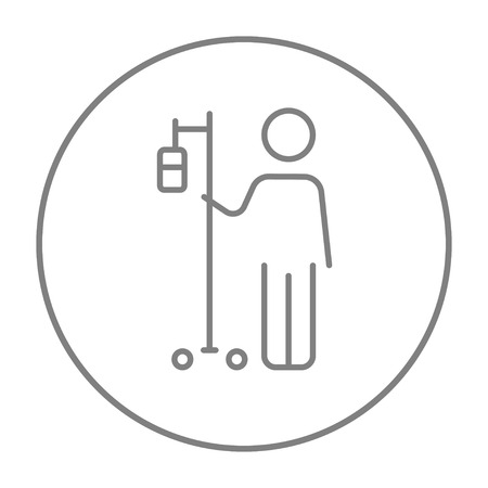 intravenous: Patient standing with intravenous dropper line icon for web, mobile and infographics. Vector grey thin line icon in the circle isolated on white background.