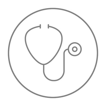 Stethoscope line icon for web, mobile and infographics. Vector grey thin line icon in the circle isolated on white background.