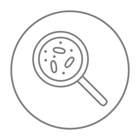zoom: Microorganisms under magnifier line icon for web, mobile and infographics. Vector grey thin line icon in the circle isolated on white background.