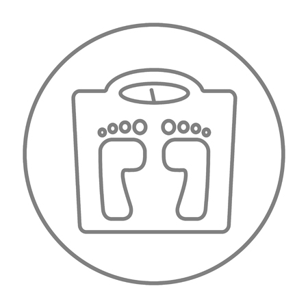 grey scale: Weighing scale line icon for web, mobile and infographics. Vector grey thin line icon in the circle isolated on white background.