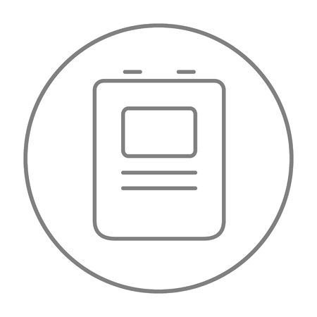 fibrillation: Heart defibrillator line icon for web, mobile and infographics. Vector grey thin line icon in the circle isolated on white background.