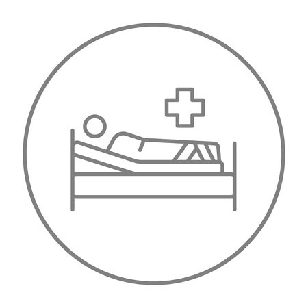 bedridden: Patient lying on the bed line icon for web, mobile and infographics. Vector grey thin line icon in the circle isolated on white background.