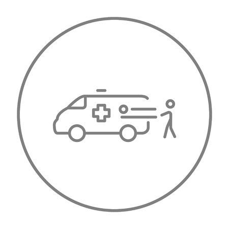 Man pushing stretchers with patient in ambulance car line icon for web, mobile and infographics. Vector grey thin line icon in the circle isolated on white background.