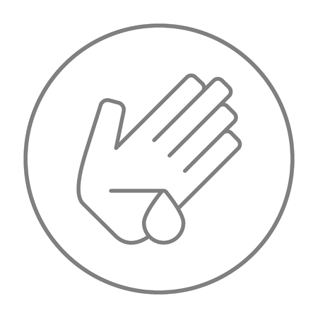 the precaution: Wounded palm line icon for web, mobile and infographics. Vector grey thin line icon in the circle isolated on white background. Illustration