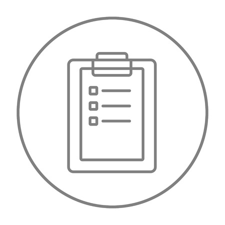 Medical report line icon for web, mobile and infographics. Vector grey thin line icon in the circle isolated on white background.