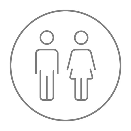 Couple line icon for web, mobile and infographics. Vector grey thin line icon in the circle isolated on white background.