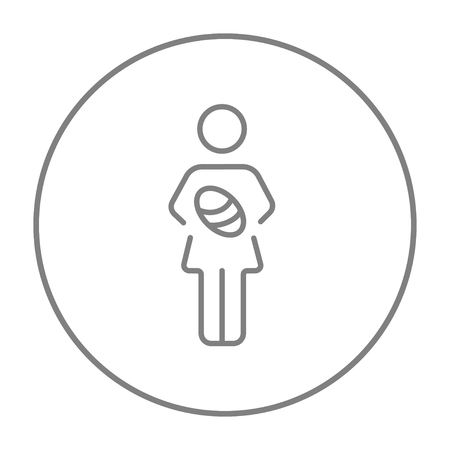 obstetrician: Woman holding the baby line icon for web, mobile and infographics. Vector grey thin line icon in the circle isolated on white background. Illustration