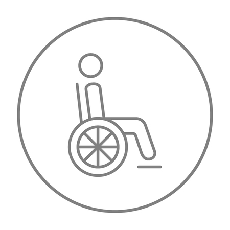Disabled person sitting in the wheelchair line icon for web, mobile and infographics. Vector grey thin line icon in the circle isolated on white background.