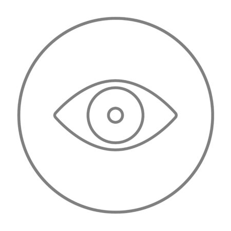 vision loss: Eye line icon for web, mobile and infographics. Vector grey thin line icon in the circle isolated on white background.