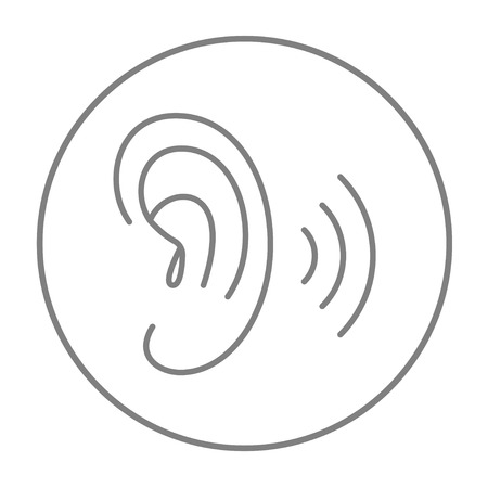 audible: Human ear line icon for web, mobile and infographics. Vector grey thin line icon in the circle isolated on white background.