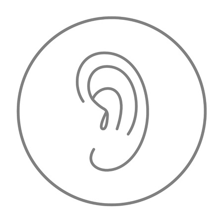 Human ear line icon for web, mobile and infographics. Vector grey thin line icon in the circle isolated on white background.