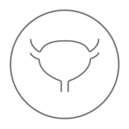 Urinary bladder line icon for web, mobile and infographics. Vector grey thin line icon in the circle isolated on white background.