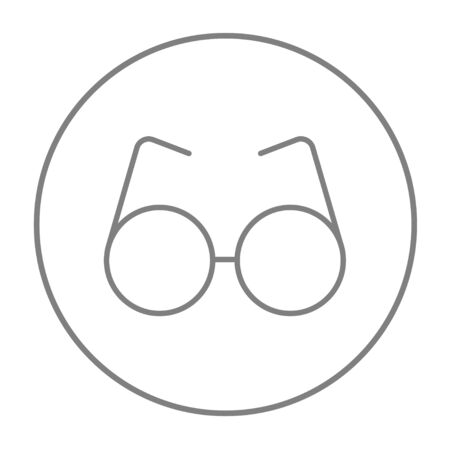 corrective lenses: Eyeglasses line icon for web, mobile and infographics. Vector grey thin line icon in the circle isolated on white background.