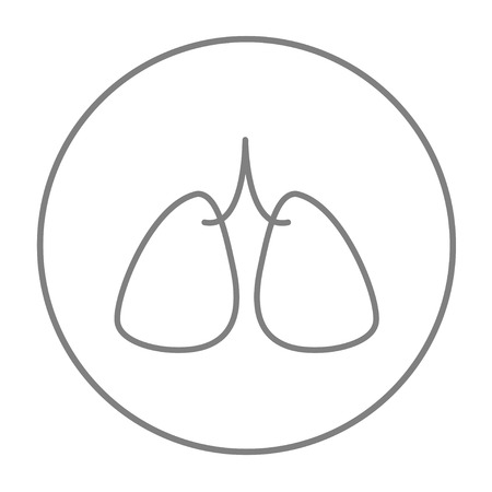 lung transplant: Lungs line icon for web, mobile and infographics. Vector grey thin line icon in the circle isolated on white background. Illustration