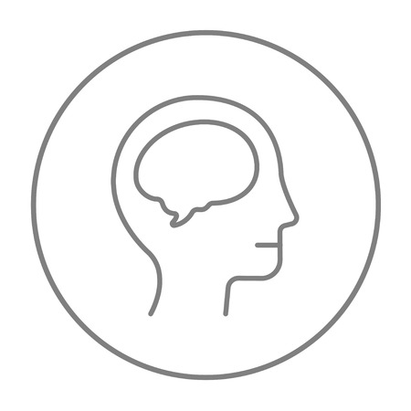 neuronal: Human head with brain line icon for web, mobile and infographics. Vector grey thin line icon in the circle isolated on white background.