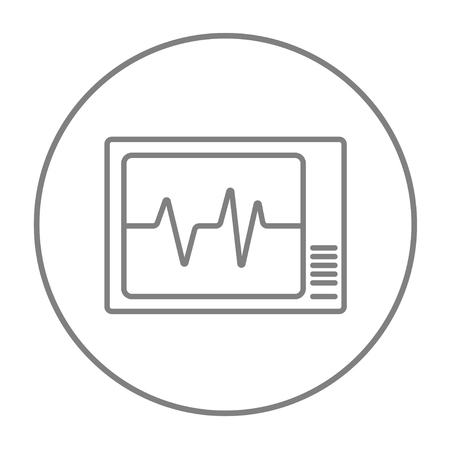 heart monitor: Heart monitor line icon for web, mobile and infographics. Vector grey thin line icon in the circle isolated on white background.