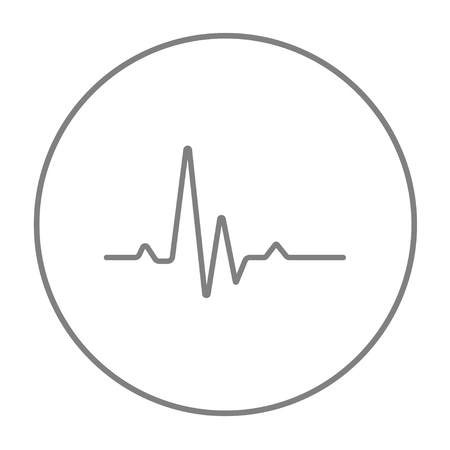 heart ecg trace: Hheart beat cardiogram line icon for web, mobile and infographics. Vector grey thin line icon in the circle isolated on white background.